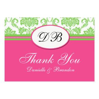 El boda rosado y verde le agradece tarjetas de visita grandes