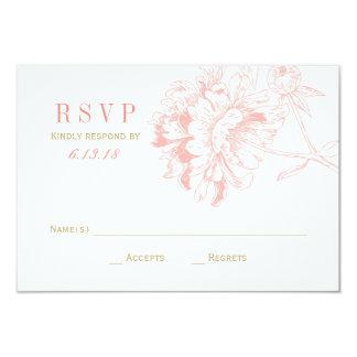 """El boda RSVP carda el Peony floral coralino del   Invitación 3.5"""" X 5"""""""