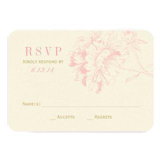 El boda RSVP carda el Peony floral rosado del | Anuncio