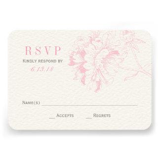 El boda RSVP carda el Peony floral rosado del Anuncio Personalizado