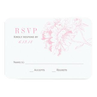 El boda RSVP carda el Peony floral rosado del | Invitación 8,9 X 12,7 Cm