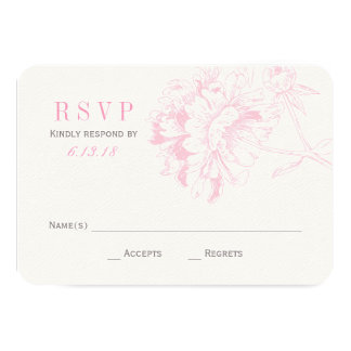 El boda RSVP carda el Peony floral rosado del | Anuncio Personalizado