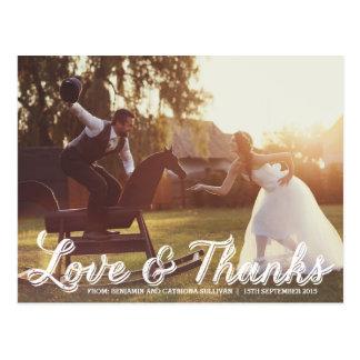 El boda rústico de la caligrafía le agradece postales
