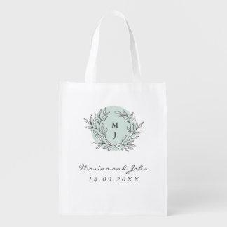 El boda rústico de la guirnalda del monograma de bolsa reutilizable