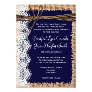 """El boda rústico de la guita del cordón de la invitación 5"""" x 7"""""""