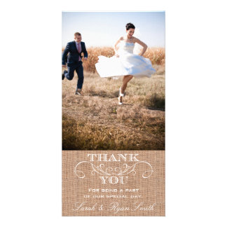 El boda rústico de la impresión de la arpillera le tarjetas con fotos personalizadas