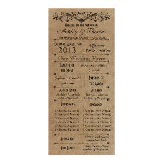 El boda rústico de la tipografía programa a 6 dama diseño de tarjeta publicitaria