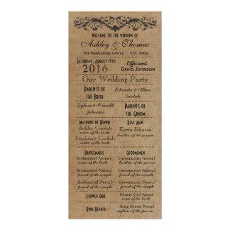 El boda rústico de la tipografía programa honor de lonas personalizadas