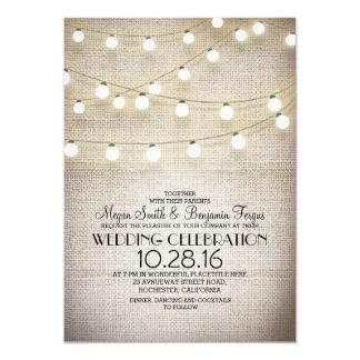 """el boda rústico de las luces del cordón y de la invitación 5"""" x 7"""""""