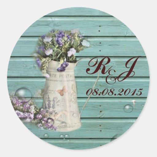el boda rústico de madera del granero floral le pegatina redonda
