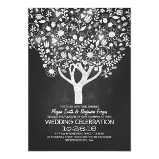 """el boda rústico del árbol de la pizarra invita invitación 5"""" x 7"""""""