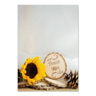 El boda rústico del arbolado del girasol le invitación 8,9 x 12,7 cm
