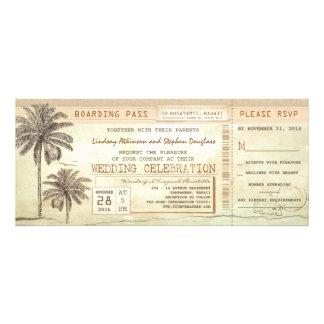 el boda rústico del boleto del documento de embarq invitación personalizada