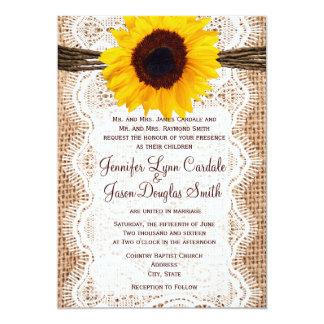 El boda rústico del girasol de la guita del cordón comunicados personalizados