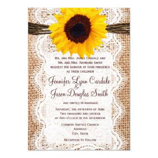 El boda rústico del girasol de la guita del cordón invitación 12,7 x 17,8 cm