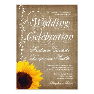 El boda rústico del girasol del vintage del país invitación 11,4 x 15,8 cm