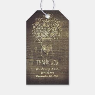 El boda rústico del granero de los tarros de etiquetas para regalos