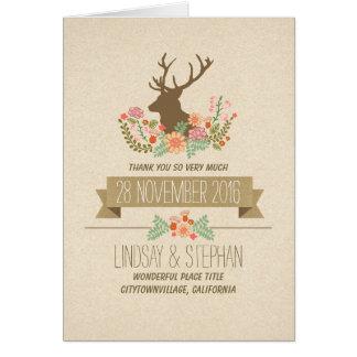 El boda rústico del país de los ciervos le agradec tarjetón