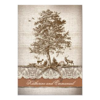 el boda rústico del país del árbol de amor de la invitación 12,7 x 17,8 cm
