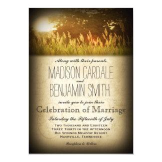 """El boda rústico del país del prado del campo de la invitación 5"""" x 7"""""""