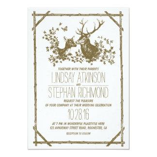 """El boda rústico del país invita con los ciervos invitación 5"""" x 7"""""""