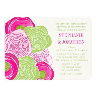 El boda rústico del rosa rosado y verde invita invitacion personalizada