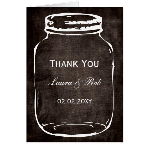 el boda rústico del tarro de albañil le agradece tarjeta