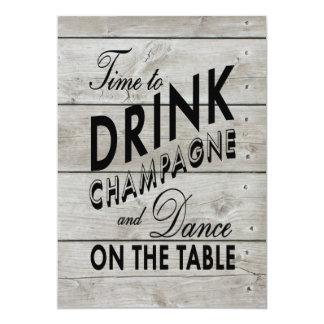 """El boda rústico invita a hora de beber Champán Invitación 5"""" X 7"""""""