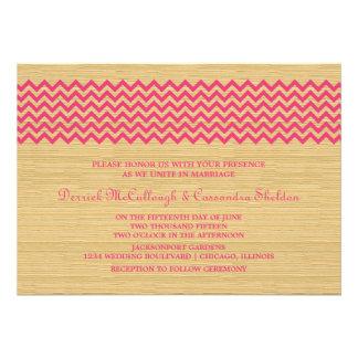 El boda rústico rosado de Chevron invita