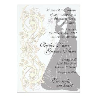 El boda silueteado voluta de la novia y del novio invitación 12,7 x 17,8 cm