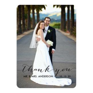 El boda simple de la escritura le agradece cardar invitación 12,7 x 17,8 cm
