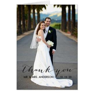 El boda simple de la escritura le agradece cardar felicitación
