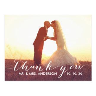 El boda simple de la escritura le agradece postal