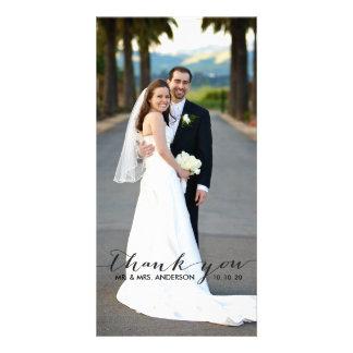 El boda simple de la escritura le agradece tarjeta plantilla para tarjeta de foto