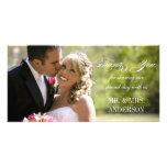 El boda simple le agradece tarjeta fotografica personalizada