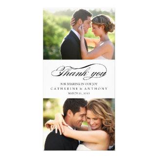 El boda simplemente elegante le agradece - blanco tarjeta fotográfica personalizada