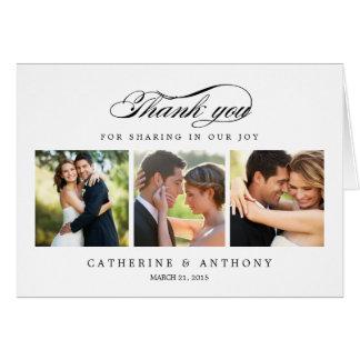 El boda simplemente elegante le agradece cardar - tarjeta pequeña