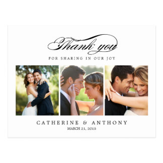 El boda simplemente elegante le agradece cardar - postal