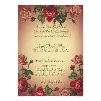 """El boda subió Victorian del vintage de la Invitación 5"""" X 7"""""""
