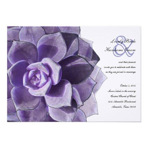 El boda suculento acodado lila del Victorian invit Invitacion Personalizada