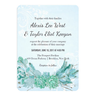 """El boda suculento de la acuarela azul del trullo invitación 5"""" x 7"""""""