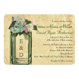 El boda suculento de los Hydrangeas del tarro de Invitación 12,7 X 17,8 Cm