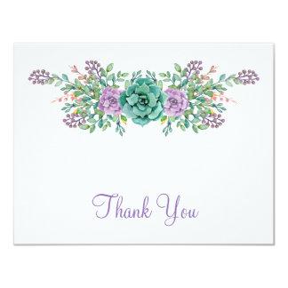 """El boda suculento floral de la acuarela le invitación 4.25"""" x 5.5"""""""