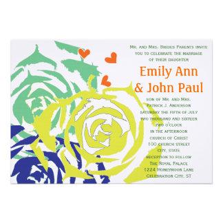 El boda suculento moderno de la esmeralda y de la  invitacion personalizada