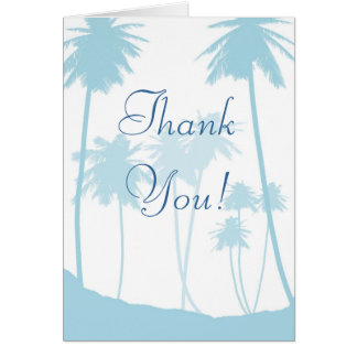 El boda tropical azul de la palmera le agradece tarjeta pequeña