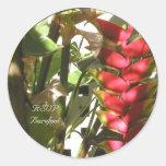 El boda tropical florece los sellos de encargo del pegatina redonda