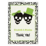 El boda verde de Halloween de los cráneos Felicitación