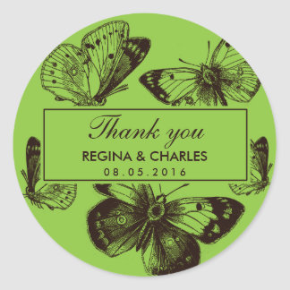 El boda verde de la mariposa del vintage le pegatina redonda
