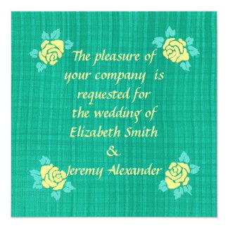 """El boda verde de la tela escocesa del trullo de invitación 5.25"""" x 5.25"""""""