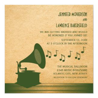 """El boda verde del gramófono del vintage invita invitación 5.25"""" x 5.25"""""""